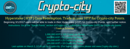 Hyperstake ( HYP ) Coin Trade-in