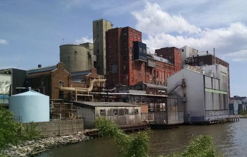 Old River Front Factory Along  The Hudson River